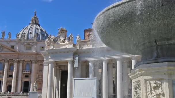 Fountain at the Square and the Basilica of St. Peter in Rome.