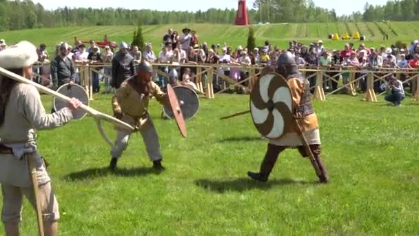 Minsk, Belarus - May 13, 2017: Festival of military historical reconstruction. The Battle of the Vikings.