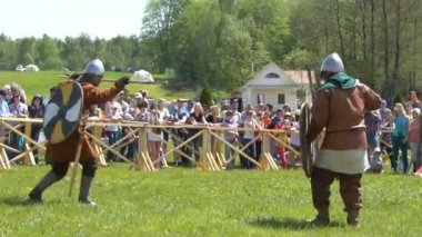 Minsk, Belarus - May 13, 2017: Festival of military historical reconstruction. The Battle of the Vikings. 60fps.