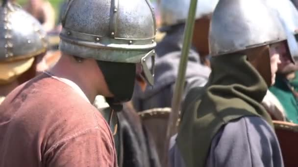 Minsk, Belarus - May 13, 2017: Festival of military historical reconstruction. Vikings rest.