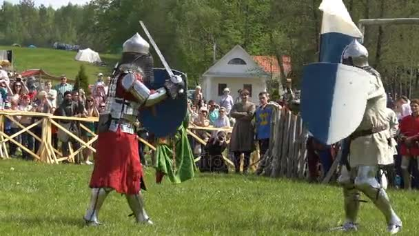 Minsk, Belarus - May 13, 2017: Battle of medieval knights. Duel. Festival of military historical reconstruction.