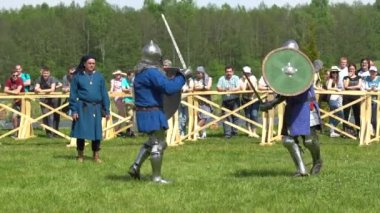 Minsk, Belarus - May 13, 2017: Battle of medieval knights. Festival of military historical reconstruction.