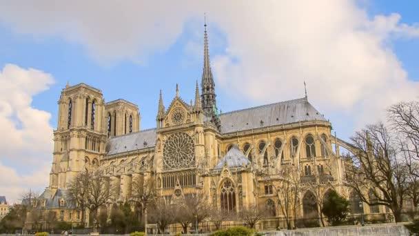 Notre Dame de Paris, or Notre Dame Cathedral, Paris, France. Time Lapse