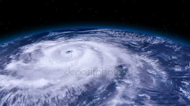 Tornado De Tormenta De Huracán Sobre La Tierra Desde El Espacio