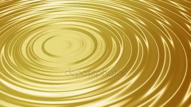 Vlny na hladině tekutého zlata. Animace. Bezešvá smyčka.