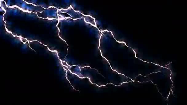 Elektřina praskání. Abstraktní pozadí s elektrického oblouku. Realistické údery blesku. Bouřka s blikajícím bleskem. Bezproblémová, opakování. Modrá