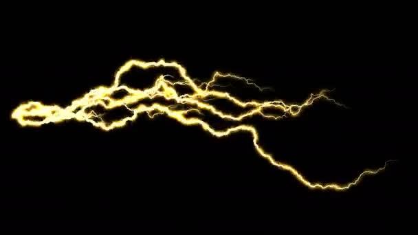 Elektřina praskání. Abstraktní pozadí s elektrického oblouku. Realistické údery blesku. Bouřka s blikajícím bleskem. Bezproblémová, opakování. Zlato.
