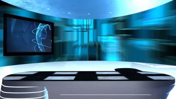 Virtuální studio s tabulkou a dvou televizních obrazovkách. Virtuální televizní studio je navržen tak, aby použít jako virtuální pozadí v zelené obrazovky nebo chroma klíč video produkci. Bezproblémová, opakování
