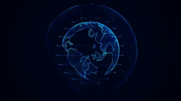 Planeten Erde Animation. rotierende Globus, leuchtende Kontinente mit akzentuierten Kanten. abstrakte Cyber-Animation des Planeten Erde mit blauem Schein. nahtloser Looping.
