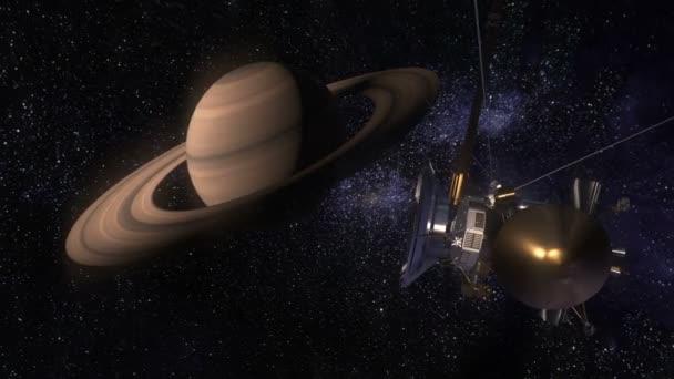 Műholdas Cassini Szaturnusz közeledik. Cassini-Huygens egy pilóta nélküli űrhajó küldött a Szaturnusz bolygót. CG-animáció.