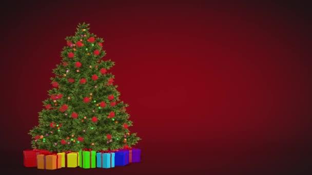 Karácsonyfa és az ajándékok forgó piros háttérre. Varrat nélküli Looped animáció.