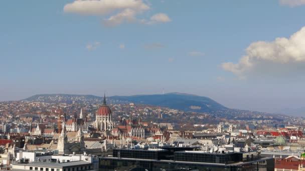Légifelvételek Budapest. Magyarország. Time-lapse