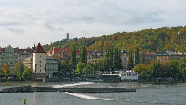 Řeka Vltava. staré město panorama, Česká republika