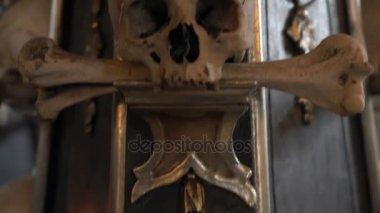KUTNA HORA, CZECH REPUBLIC - JULY, 2015: Interior of Ossuary, Kostnice, Czech Republic, Kutna Hora. Human skeletons, skulls and bones.