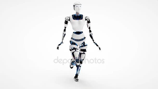 Szexi robot android nő séta. Sci-Fi elegáns robot gir. Aranyos robot nő.