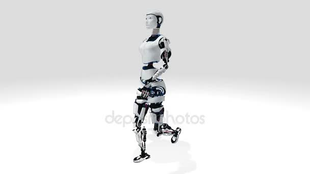 Sexy robot android žena chůze. Sci-Fi stylo robotické. Roztomilý robot žena. CG animace.