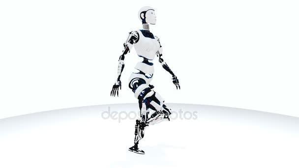 Szexi robot android nő séta. Sci-Fi stílusos robot lány. Aranyos robot nő. CG-animáció.