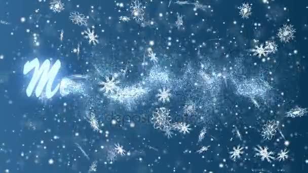 Veselé Vánoce od sněhové vločky na modrém pozadí. Vánoce a nový rok bezproblémový, opakování animace