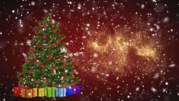 Karácsonyfa és az ajándékok forgó piros háttérre. Kellemes karácsonyi ünnepeket és boldog új évet hópelyhek, piros háttéren. Karácsonyi és újévi varrat nélküli hurok animáció