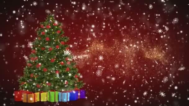Vánoční stromek a dárky otočení na červeném pozadí. Veselé Vánoce a šťastný nový rok od sněhové vločky na červeném pozadí. Vánoce a nový rok bezproblémový, opakování animace