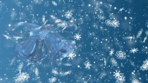 Vánoce a nový rok bezproblémový, opakování animace. Vánoční vločky a zvonek na modrém pozadí. Zimní říši divů kouzlo sněhové vločky.