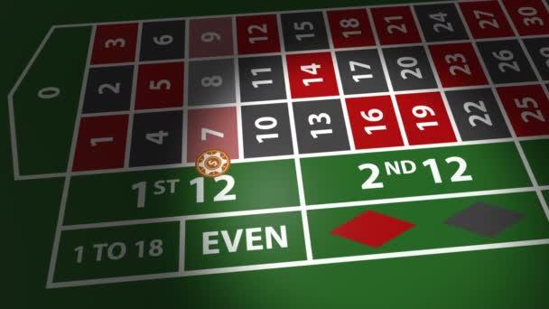 Červené kostičky na kasino tabulky v pomalém pohybu