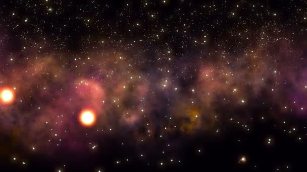 Průlet poli hvězd a mlhoviny v hlubokém vesmíru.