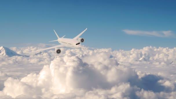 Verkehrsflugzeug im Flug, Flugzeug über Wolken..