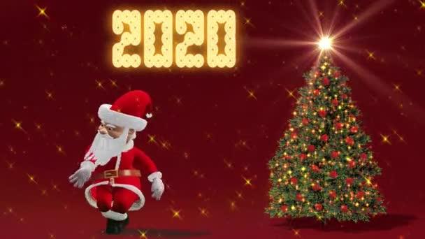 Santa Claus tančí u vánočního stromu. Pojetí Vánoc a nového roku. Bezešvá smyčka.