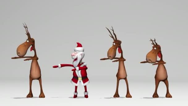 Vicces őrült Mikulás és szarvasok táncolnak. A karácsony és az újév fogalma. Zökkenőmentes hurok. Alfahálózattal.