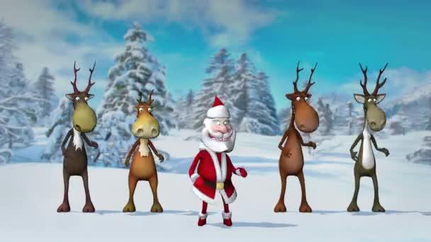Vicces őrült Mikulás és szarvasok táncolnak a karácsonyi téli erdőben. A karácsony és az újév fogalma. Zökkenőmentes hurok.