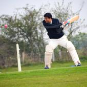 New Delhi India Březen 3 2020: Plná délka kriketu hraje na hřišti během slunečného dne na místním hřišti, Kriketista na hřišti v akci, Hráči hrají kriket utkání na poli