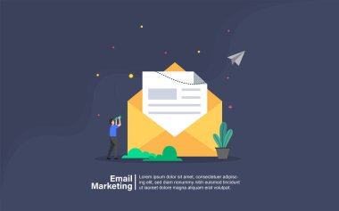 Email marketing concept with people character for web landing page template, banner, presentation, social, and print media. Business flat design vector illustration.