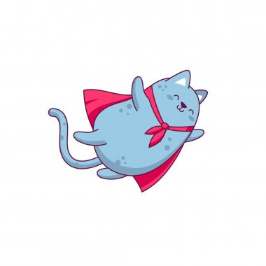 Character design funny fly cat