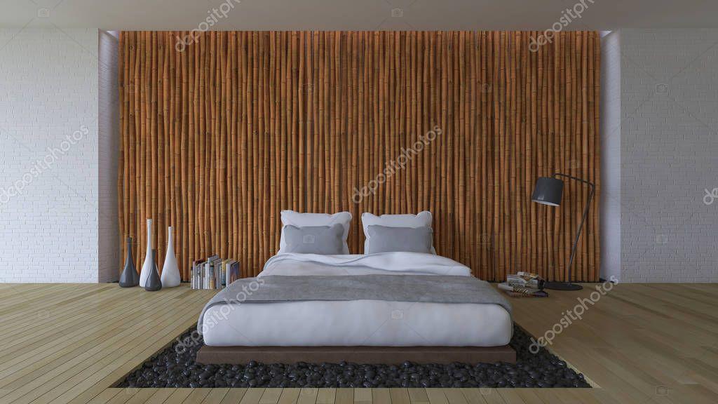 3ds łóżko I Bambusowe ściany Zdjęcie Stockowe Neode