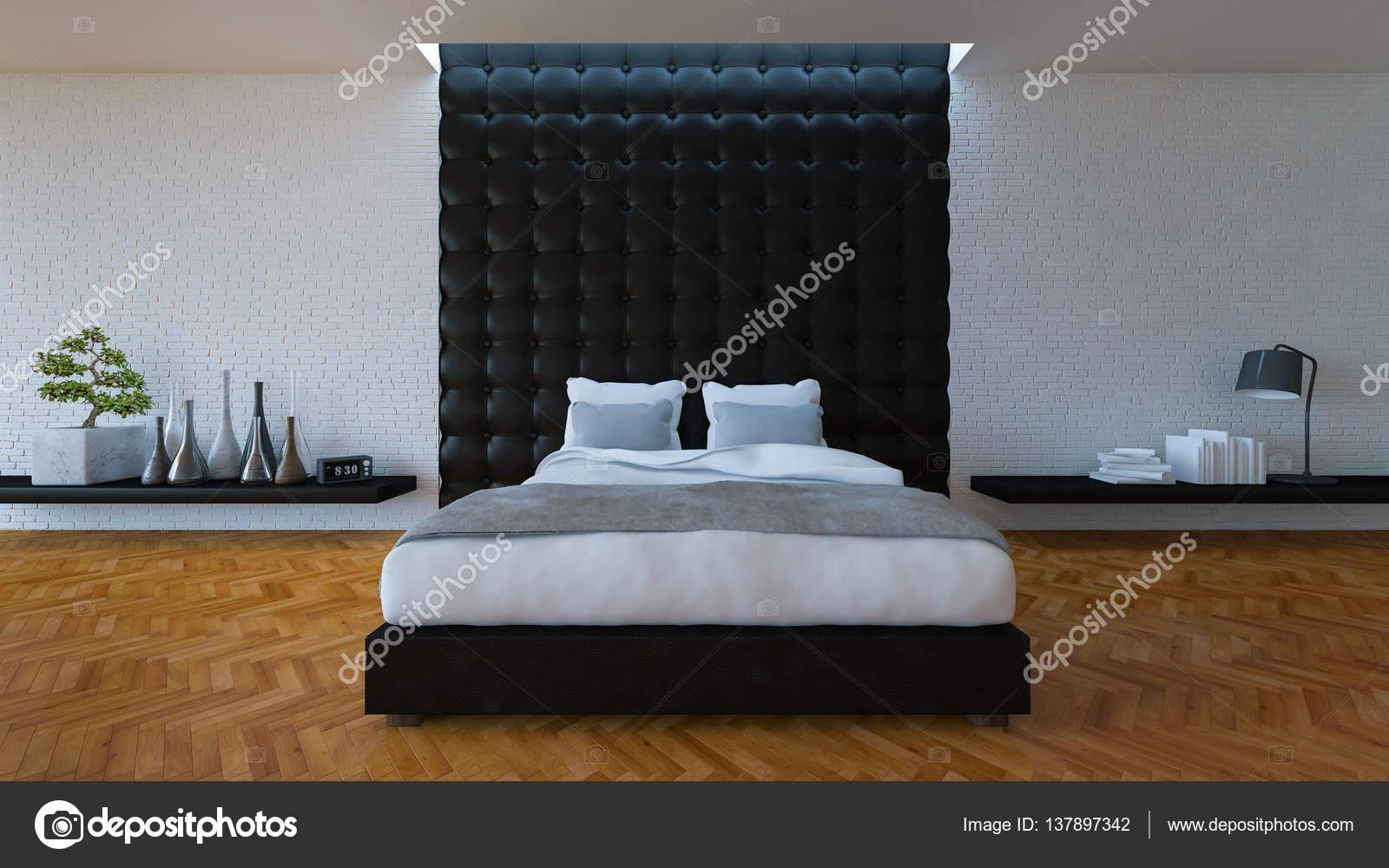 3D slaapkamer met lederen wand — Stockfoto © Neode #137897342
