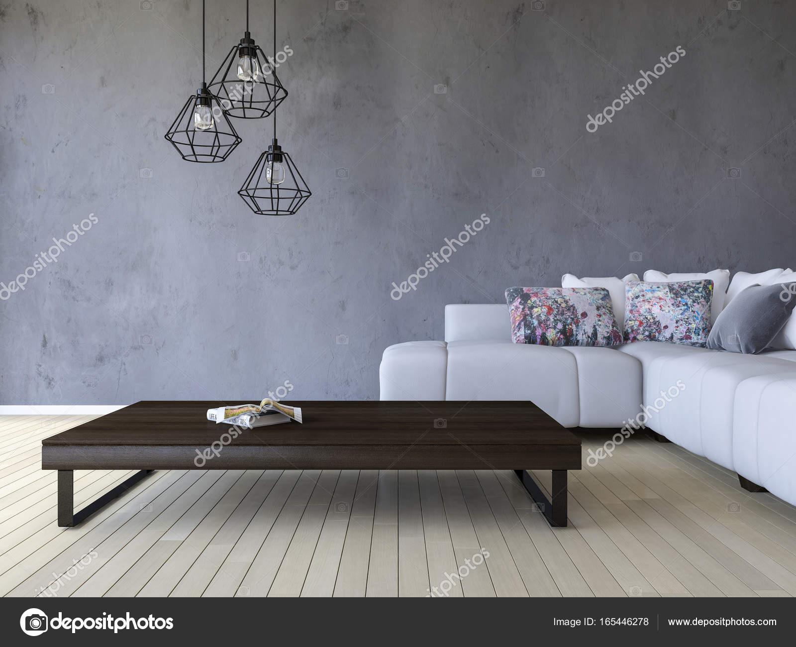 3DS Rendering weißen Sofa und Tisch aus Holz — Stockfoto © Neode ...