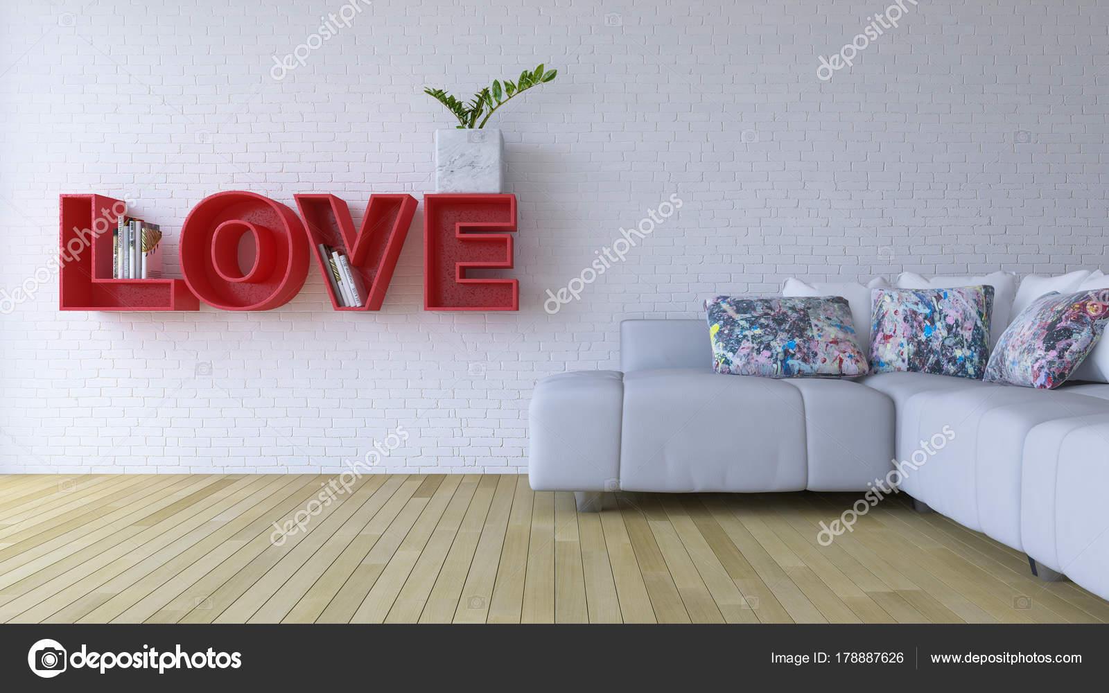 3D Rendering Bild der Innenarchitektur Wohnzimmer — Stockfoto ...