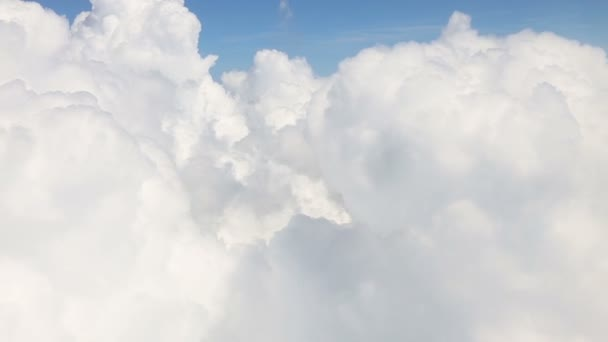 Traveling by air. View through an airplane window with cloud
