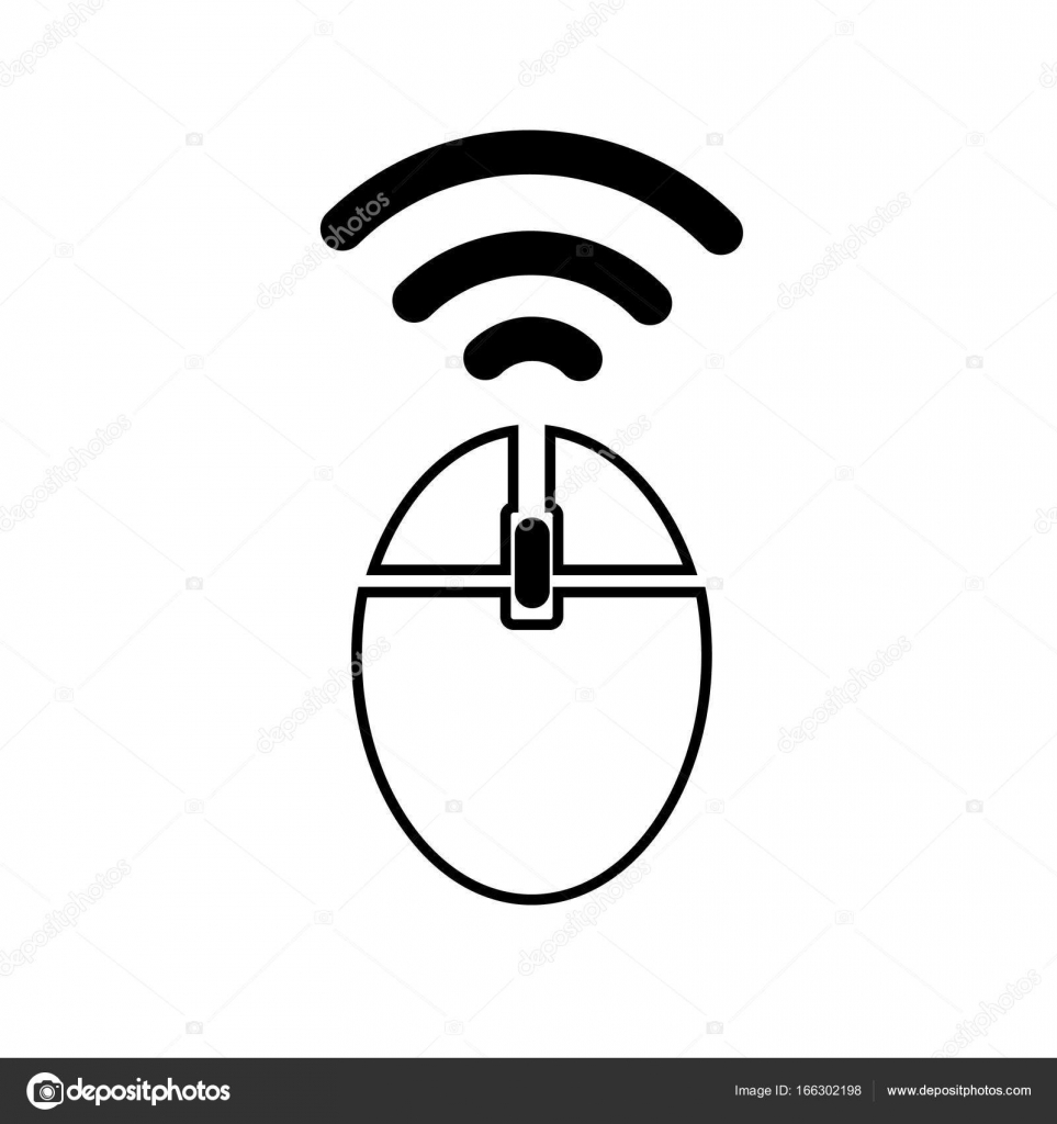 Computer wireless mouse icon isolated on white background in lined ...