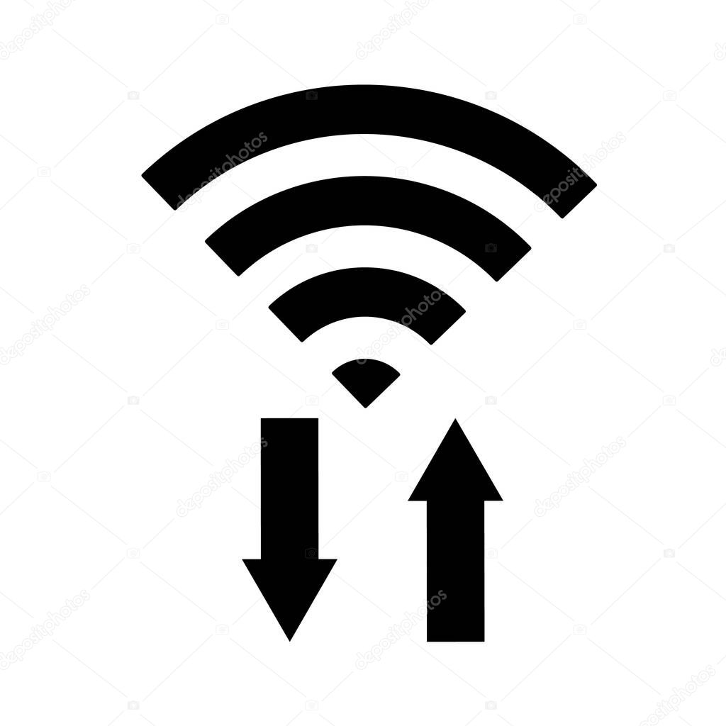 vecteur d u2019ic u00f4ne wifi avec fl u00e8che envoyer et recevoir des donn u00e9es ou transfert  wireless signe