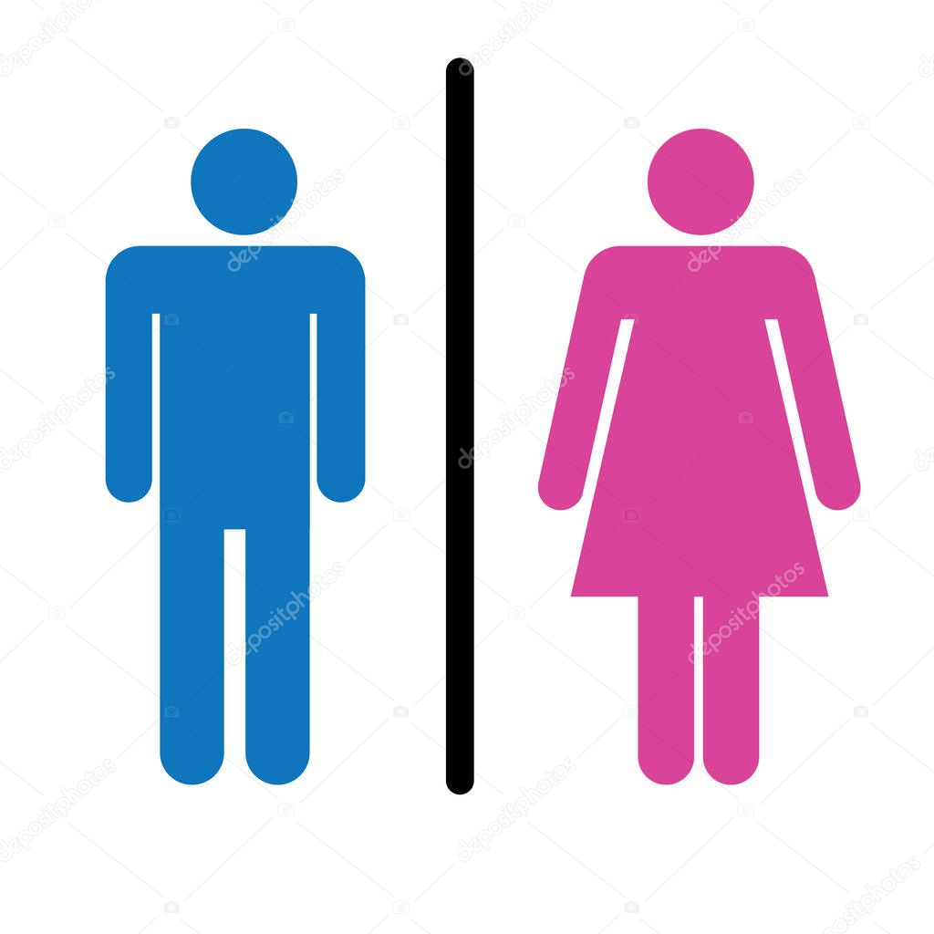 toiletten vektor symbol stil ist flach gerundete wc symbol blau und rosa farbe winkel wei en. Black Bedroom Furniture Sets. Home Design Ideas