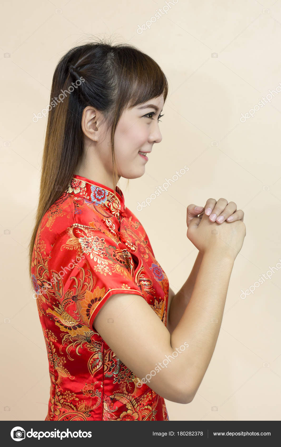 Asian Woman Greeting Traditional Chinese Cheongsam Hand Lift Welcome