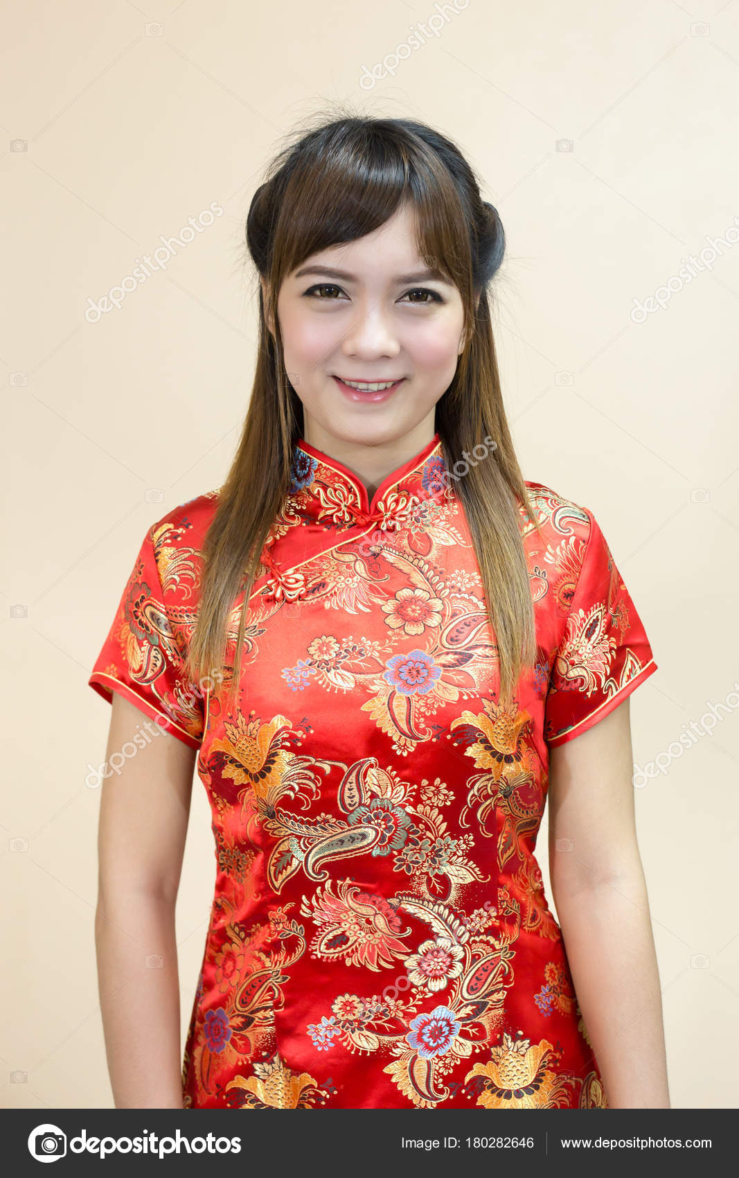 Closeup Asian Woman Greeting Traditional Chinese Cheongsam Chinese