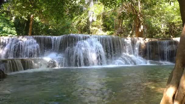 Waterfall in deep forest at Huay Mae Kamin Waterfall The beautiful and famous in Khuean Srinagarindra National Park Kanchanaburi province, Thailand.