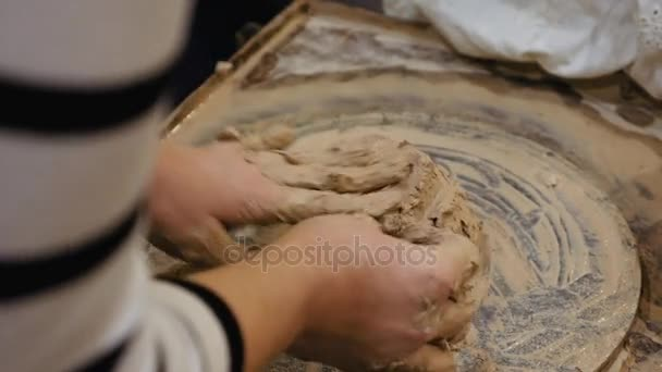 Sculptor Is Pugging Clay For Creating Pottery Stock Video
