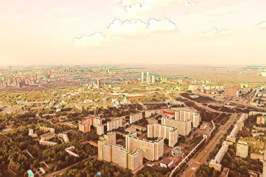 Illustration: view of Moscow city from the height of bird flight. Panorama of Moscow from a height. Beautiful skyscrapers. In the background-the sky with clouds. View from Ostankino TV tower