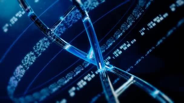 Modrá řetězec DNA s binární genetické informace