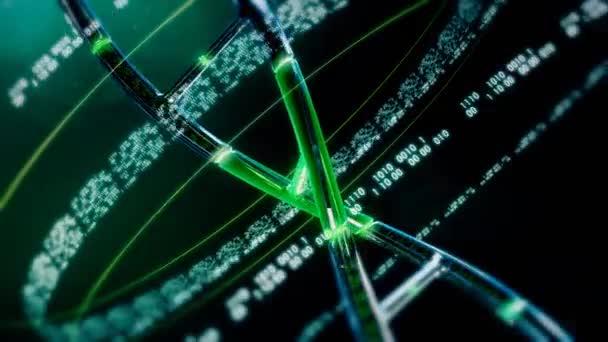 Zelený řetězec DNA s binární genetické informace
