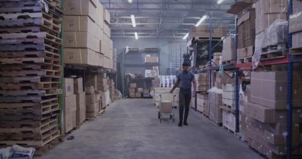 Afrikai American Manager szállítási raktár költöztető dobozok